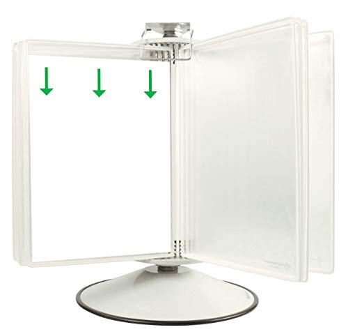 TARIFOLD Premium Desktop Reference and Display System with 360° Steel Rotary Base 50 White Frame Antimicrobial Display Pockets Letter-Size 100 Sheet Capacity (RA295W)