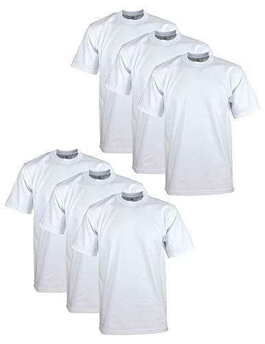 Pro Club Men's 6-Pack Heavyweight Cotton Short Sleeve Crew Neck T-Shirt, White, X-Large