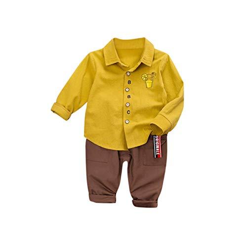 sunnymi - Conjunto de Camiseta y pantalón para niño (Manga Larga) Amarillo 18-24 Meses