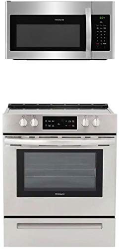 """Frigidaire 2 Piece Kitchen Appliances Package with FFEH3051VS 30"""" Electric Range and FFMV1645TS 30"""" Over the Range Microwave in Stainless Steel"""