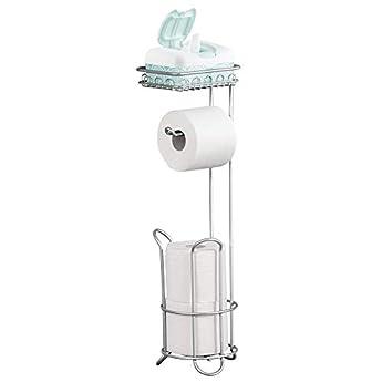 Foto di iDesign Porta carta igienica con ripiano, Portarotolo bagno da terra per 3 rotoli in tutto, Portarotolo carta igienica salvaspazio in metallo, argento