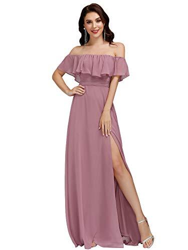 abito donna 52 Ever-Pretty Abiti da Ballo Elegante Stile Impero Linea ad A Chiffon dalla Spalla con Spacco Donna Orchidea 52