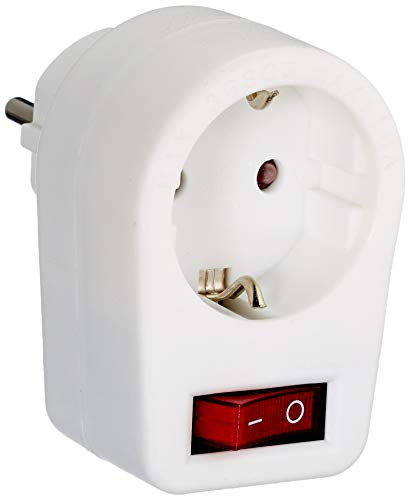 Garza Power - Adaptador con toma de Tierra y con Interruptor, formato Blíster, color Blanco