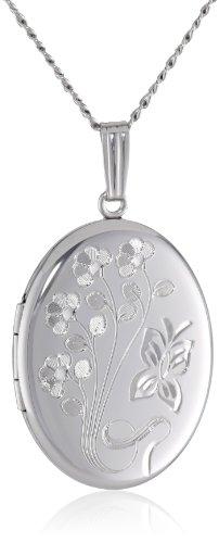 Sterling Silver Engraved Flowers Oval Locket, 20