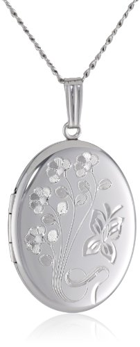 Sterling Silver Engraved Flowers Oval Locket, 20