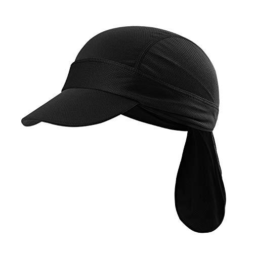 JIAHG Sport Bandana Cap Hat schnell-trocknend, Anti-UV Schutz, Damen Herren Kopftuch Piratenmütze Bikertuch Stirnband Fahrrad Radsport Motorrad Kopfbedeckung Mütze (Schwarz Cap mit Schirm)