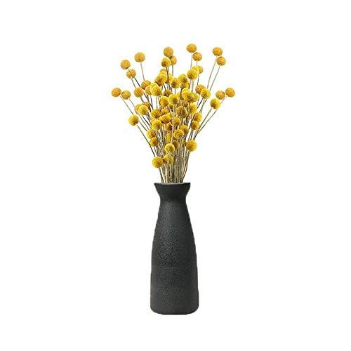 Cratone Ceramic Vase Black Flower Vase Clay Pottery Flower Vase Modern Minimalist Handmade Vase for Dried Flowers Small Bud Decorative Floral Vase for Household Office Wedding Party, L