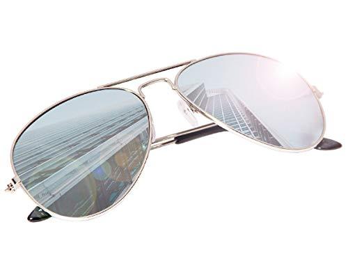 70er 80er Jahre Retro Alsino® Sonnenbrille Pornobrille Pilotenbrille Sonnenbrillen V-705 (silber/ verspiegelt)
