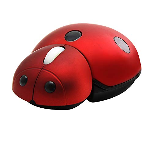 elec Space 2.4G Wireless Mouse Small Cute Animal Ladybug Shape 3000DPI Portable Mobile Optical Mouse with USB Receiver 3 Buttons Cordless Mouse for PC Mac Laptop Computer Notebook (Red)