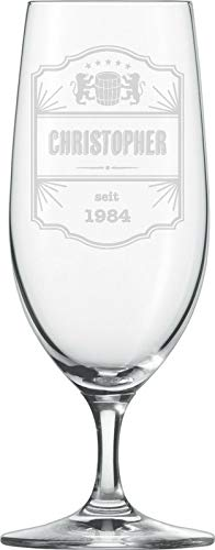 MaTaDa Vaso de cerveza con grabado, vaso de cerveza personalizado, vaso grabado, capacidad: 380 ml