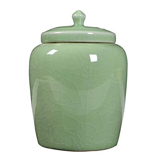 XJJUN-Vasi Moderni da Interno Vasi Moderni da Interno Cilindrico Carrello da tè Flambed Glazed Vento Cinese Vintage Soggiorno con Coperchio Vaso di Stoccaggio, 2 Colori, 2 Taglie