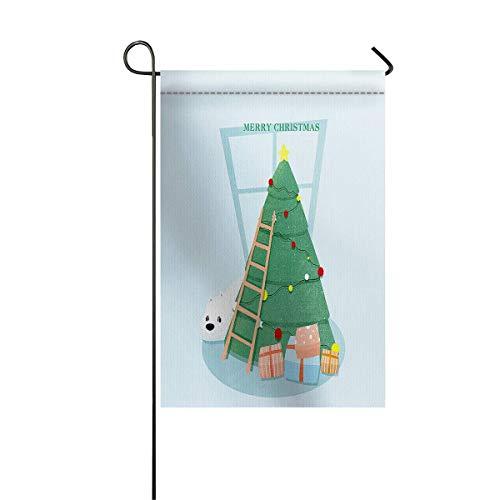 Garden Flag House Banner dekorative Flagge Home Outdoor Valentine, süßes Bier Dekorieren Sie seinen Weihnachtsbaum mit Glocke und Boxed Geschenk von Holzleiter Willkommen Holiday Yard Flag 12 x 18inch