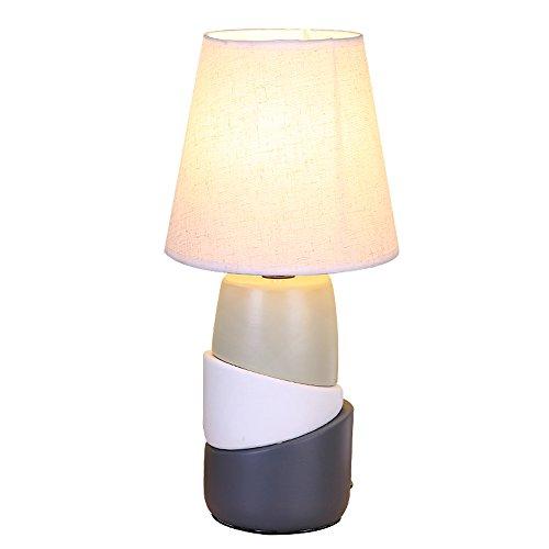 Pointhx Nordic Simplicity E27 Ceramica Lampada da tavolo Calda mano-Tessuto Lino Luce da scrivania Camera da letto Sala da pranzo Ristorante Illuminazione da tavolo