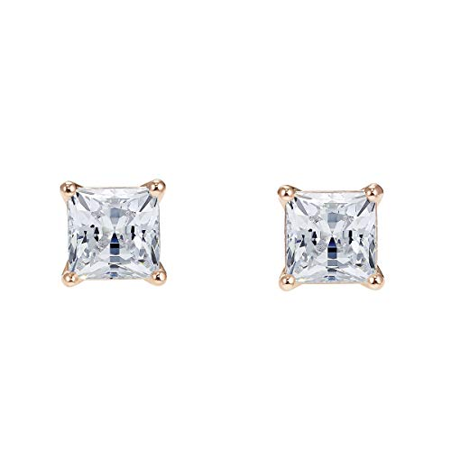 Swarovski Women's Attract Pierced Stud Earrings, Brilliant Pair of White Crystals with Rose-gold tone plating, from the Swarovski Attract Collection