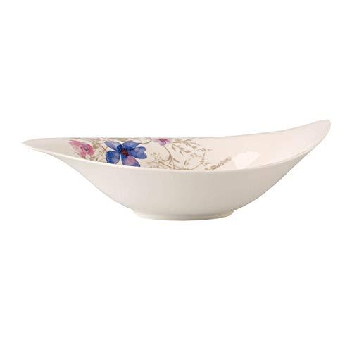 Villeroy & Boch - Mariefleur Gris Serve & Salad Salatschüssel, Schüssel für Beilagen und Salate, Schüssel für Beilagen und Salate, 45 x 31 cm, Premium Porzellan, weiß/bunt