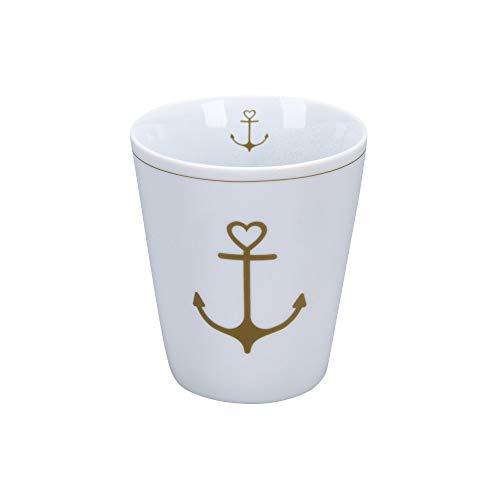 Krasilnikoff - Happy Mug - Becher, Tasse - Gold Anchor - Porzellan - H10 x Ø8,7 cm - Volumen: 330 ml