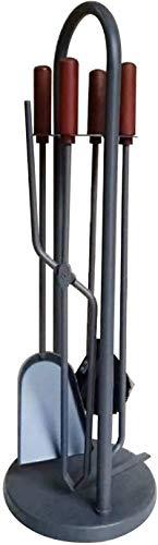 FEZBD 5 Stücke Kaminwerkzeuge Sets Mit Holzgriff, Indoor-Schmiedeeisen-Feuerstelle-Werkzeug- Und Halterung, Holzofen Herd-Zubehör-Kit
