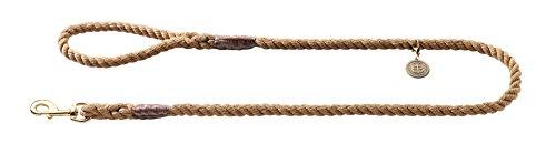 HUNTER LIST Führleine für Hunde, Messingbeschläge, Handschlaufe, maritim, 1,2 x 140 cm, beige