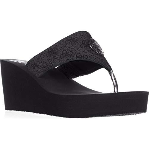 GUESS Womens Solene Fabric Open Toe Casual Platform Sandals, Black, Size 10.0