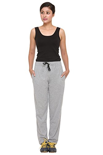 CUPID Regular Fit Cotton Track Pants, Lower, Sports Trouser,Night Pants, Joggers for Lounge Wear n Daily Gym Wear for Girls - Grey Color, Medium