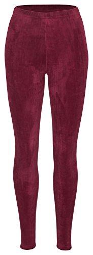 Tobeni Damen Winter-Leggings mit Teddy-Futter Thermo-Legging extra Kuschelig Warm Farbe Rot Grösse S/M