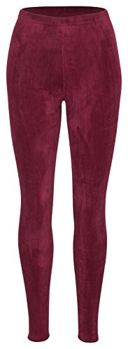 Piarini Winter-Leggings mit Teddy-Innenfleece - Thermo-Leggings extra kuschelig warm in Weinrot Gr.S-M