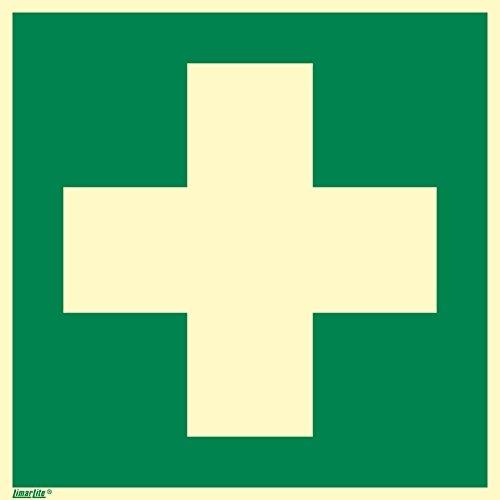 Erste Hilfe, Hart-PVC langnachleuchtend, 200 x 200 mm gemäß ASR A1.3 / ISO 7010 E003, Rettungszeichen Schild, 20 x 20 cm