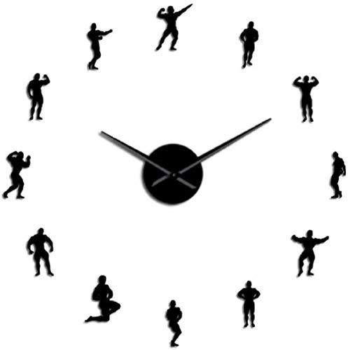 Reloj de Pared de acrílico de Bricolaje Weightlifting Great DIY Wall Clock Motivation Training Sports Fitness Gym Decorative Wall Hanging Large Weightlifters Gift-47 Pulgadas