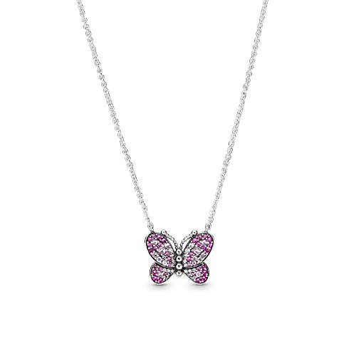 PANDORA Dazzling Pink Butterfly 925 Sterling Silver Necklace, Size: 50cm, 19.7 inches - 397931NCCMX-50
