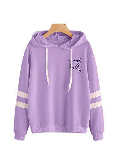 SweatyRocks Women's Planet Print Varsity Striped Drawstring Pullover Sweatshirt Hoodies Tops - Purple - Small