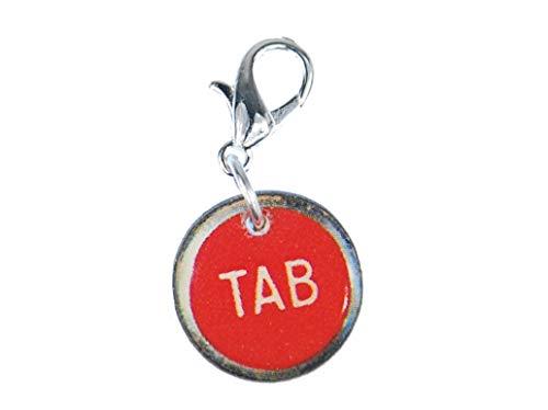 Miniblings Tab Taste Charm Anhänger Schreibmaschine Holz Zeichen Tastatur LC rot