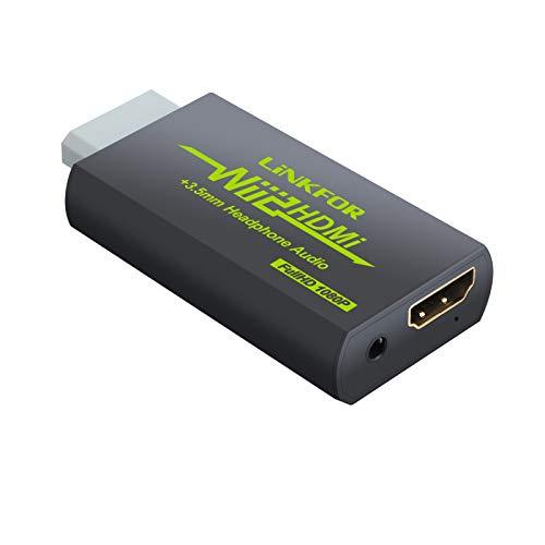 LiNKFOR Wii HDMI Konverter 1080p Wii zu HDMI und 3,5-mm-Audioausgang Unterstützung ETC NTSC PAL Wii-Eingang HDMI 3,5-mm-Ausgang Kompatibel mit HDTV-Kopfhörer - Schwarz