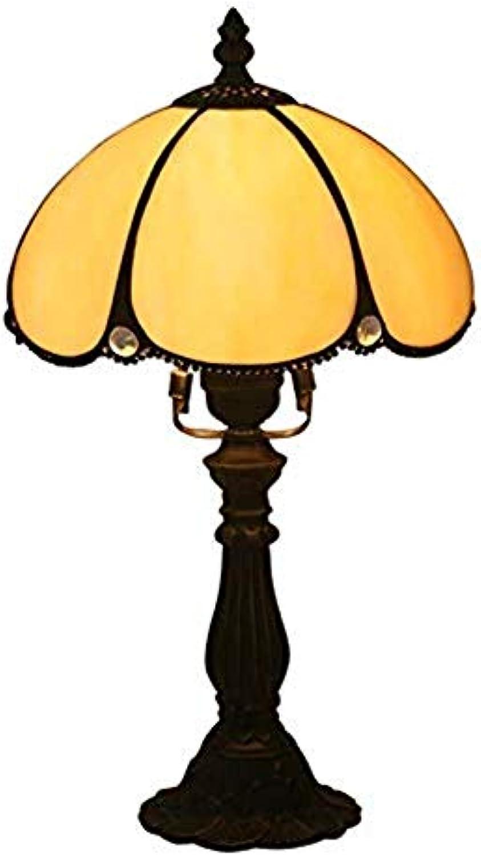 JZQ Tischlampe Europische Retro 8 Zoll Dekoration Tischlampe Weie Perle Vorhang Glasmalerei Tischlampe Mit Druckschalter Wohnzimmer Schlafzimmer Harz Tischlampe Harz (Farbe   Alloy)