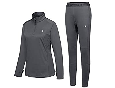 Little Donkey Andy Women's Thermal Fleece Lined Tracksuit Set Quarter Zip Wicking Lightweight Active Top & Bottom Gray M