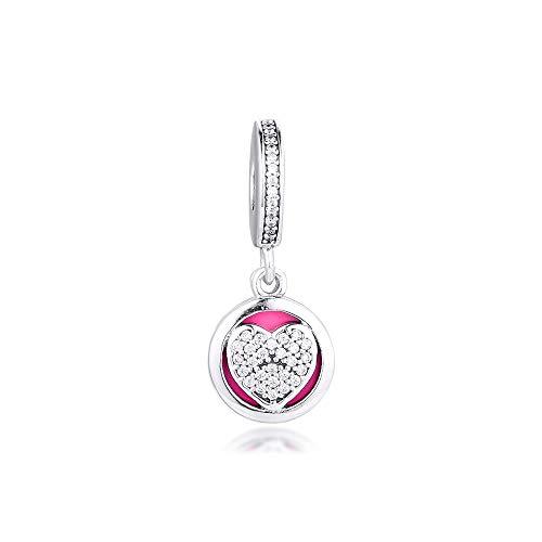 LISHOU Joyería De Plata Esterlina 925 para Mujer Abalorios De Corazón Devotos Se Ajustan A Pulseras Pandora Europeas Collares Fabricación De Joyas DIY