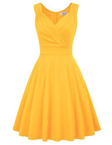 Vintage Kleider 50er Jahre Rockabilly Kleid cocktailkleid a Linie Elegante Kleider CL698-8 S