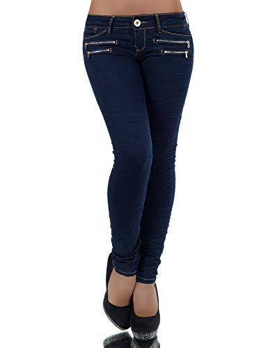 Diva-Jeans L851 Damen Jeans Hose Hüfthose Damenjeans Hüftjeans Röhrenjeans Röhrenhose Röhre, Marineblau, 38
