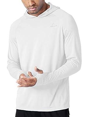 Willit Men's UPF 50+ Sun Protection Hoodie Shirt Long Sleeve SPF Performance Hiking Fishing Shirt Lightweight White XL