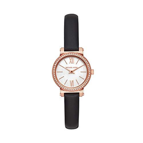 Michael Kors Sofie-Reloj analógico de Cuarzo con Correa de Piel Negra para Mujer MK2849