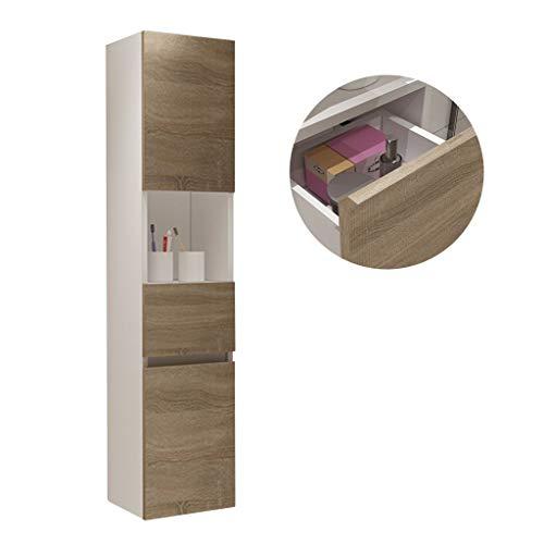 Wandschrank Haushalt Multifunktionsaufbewahrungsschrank Bad Beistellschrank Wohnzimmer Eckschrank (Color : Weiß, Size : 30 * 27 * 140cm)