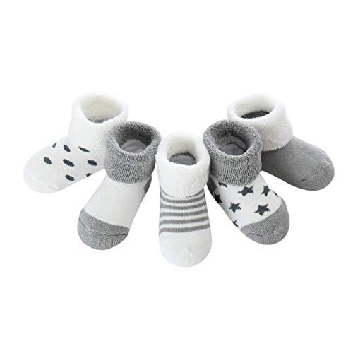 Baby Kinder Socken 5 in 1 Set Jugendliche Stricksocke Verdickender Herbst und Winter Jungen Mädchen Baumwolle Bunt Elastisch Weich- Gr.M (1-3 Jahre), Herbst/Winter-grau