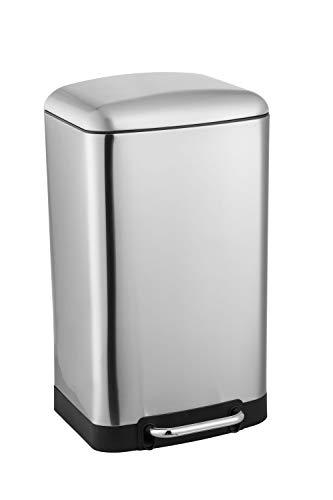 Ribelli Mülleimer aus Edelstahl - 30 Liter - Mülltrennung Treteimer Abfalleimer Mülleimer Müllbehälter Papierkorb Mülltonne, Farbe:chrom