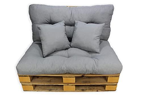 Acomoda Textil - Cojines Sofá Palets. Conjunto 4 Piezas para Palet, Asiento 120x80 cm + Respaldo + 2 Cojines. Cómodo y Elegante para Interior y Exterior. NO Incluye PALETS. (Gris)