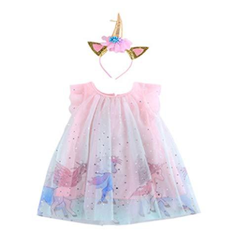 Carolilly Vestido de niña de encaje de unicornio, vestido de princesa con banda sin mangas, vestido de niña para bautizo, dulce vestido de niña de tul Rosa-con banda 3-4 Años