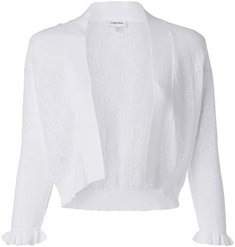 Calvin Klein Women's Open Knit Shrug with Ruffle Cuff, White, M