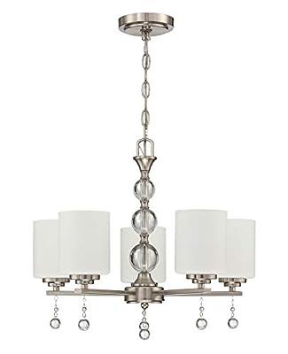 Doraimi Lighting Classic Industrial 5 Light Contemporary K9 Crystal Chandeliers Brushed Nickel Modern Light for Dining Room Living Room Corridor