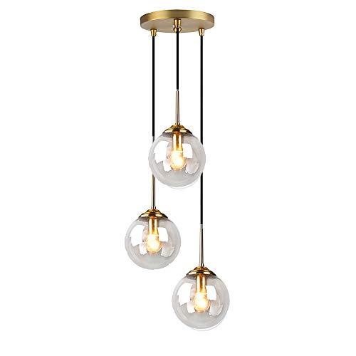 HJXDtech Lámpara colgante de techo industrial vintage con Latón y el globo de cristal Pantalla, Retro E27 Loft Bar Luz colgante para cocina dormitorio salón (Claro, 3 Luces)