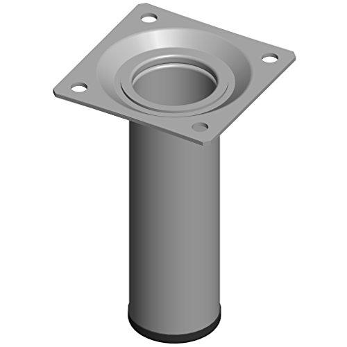 Element System 4 Stück Stahlrohrfüße rund, Tischbeine, Möbelfüße inklusive Anschraubplatte, Länge 10 cm, Durchmesser 30 mm, 4 Farben, 11 Abmessungen, weißaluminium, 11100-00005