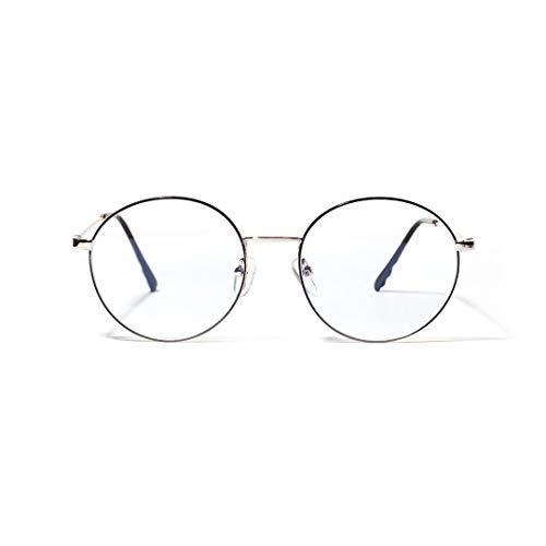 LIUYALE Ronda Retro Metal Anti-Brillante Lentes de computadora Fatiga Ojos Protect Anti-Ojos Ligeros de Alta Densidad for Mujeres/Hombres Monturas de Gafas (Color : Silver)