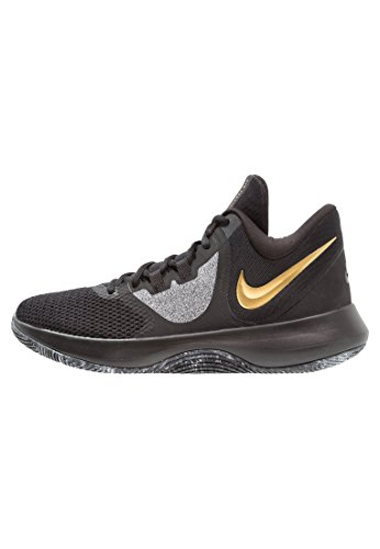 Nike Air Precision 2 Mens Basketball Shoes (12, Blk MTLC Gold Wht)